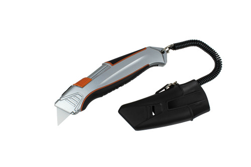 Self-Retracting Knife with Holder and Belt Clip