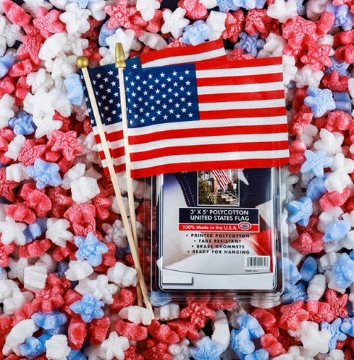 Non-Static, Plant Based, Certified Compostable Red, White, & Blue Star Shaped Packing Peanuts