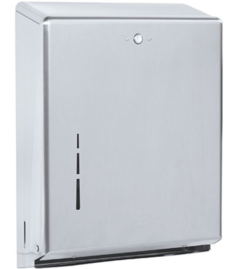 Wall Mount C-Fold/Multi-Fold Hand Paper Towel Dispenser - Brushed Steel