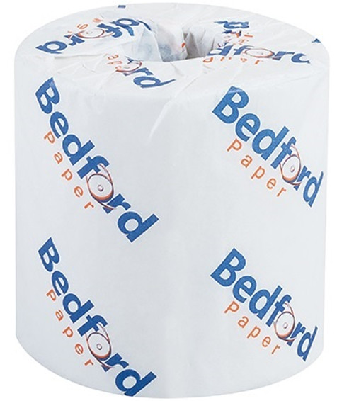 """Bedford 2-Ply Bathroom Tissue Toilet Paper. Sheet size is 4 1/2"""" x 3 1/2"""" and 500 sheets per roll."""