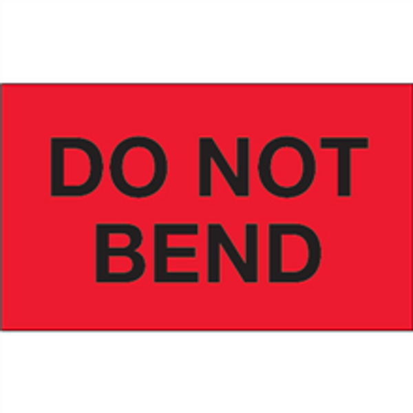 """""""Do Not Bend"""" (Fluorescent Red) Shipping and Handling Labels"""