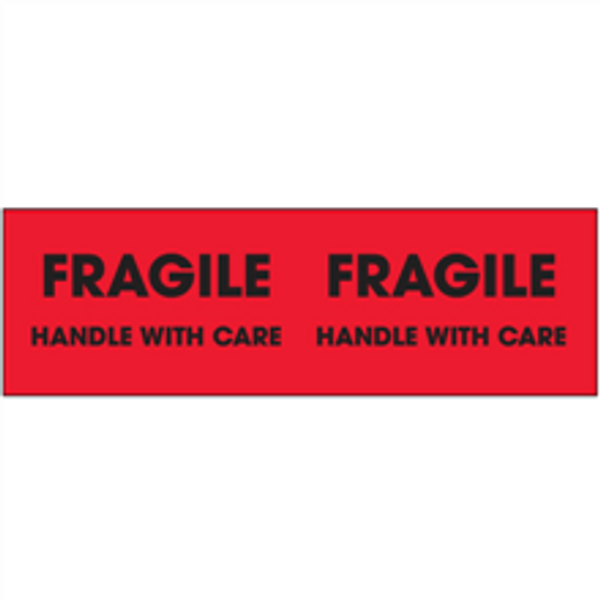 """""""Fragile - Handle With Care""""  (Fluorescent Red) Pallet Corner Labels"""