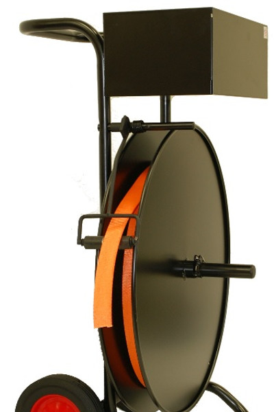 """The cart, with 10"""" Rubber Tires, makes transporting the strapping ideal for warehouses and packing departments."""