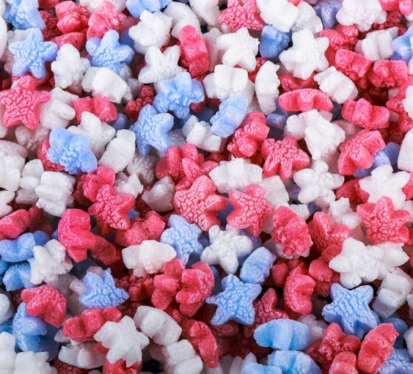Red, White, & Blue Star Shaped Packing Peanuts. Environmentally Friendly to all Ecosystems such as Lakes, Streams, Rivers, & Oceans