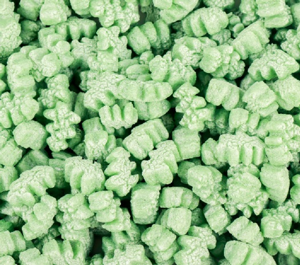 Green Christmas Tree Packing Peanuts. Environmentally Friendly to all Ecosystems such as Lakes, Streams, Rivers, & Oceans