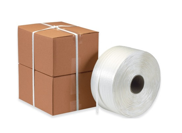 """White Woven Polyester Cord Strapping 5/8"""" x 3000' 800lb Break Strength"""