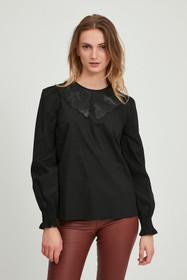 Bygamze Leather Collar Blouse