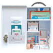 Description: First AID Kit- Class B for 11-99 people, Workplace Health and Safety Registered Complete Kit in Metal Cabinet -Portable. General Description: Recommended for Medium Risk Work Areas such as warehouses, light manufacturing industry, restaurants & modest offices. Complies to OH&S Regulations 2001 for NSW & Victoria Basic First Aid Kit Requirements. A first aid kit is a collection of supplies and equipment for use in giving first aid and can put together for the purpose or purchased complete.