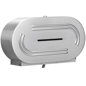 This durable Stainless Steel Jumbo Toilet Roll dispenser fits 2 rolls of any standard 1 ply or 2 ply Jumbo Toilet Roll.
