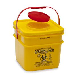 YELLOW SHARPS SAFE: 12.5lt. yellow square 125mm