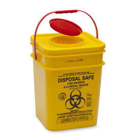 YELLOW SHARPS SAFE: 17.5lt. yellow square 125mm