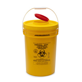 YELLOW SHARPS SAFE: 24lt. yellow round 125mm