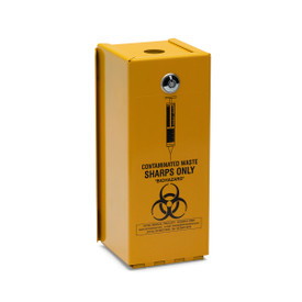 """STEEL SYRINGE SAFES: """"YELLOW ARMOUR"""" LOCKABLE: 2 litre Steel Hinged Safe for RE2LS waste bin"""