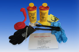 Sharps Collection Kit The safe solution for handling, transport and disposal of high risk sharp items waste.  CONTENTS:  2 pair Nitrile Gloves 2 ea Opti Safe 700ml Sharps Containers 1 ea Ergonomic Handle: reuseable 1 ea collection 'pick up' Tong – black 2 ea PAWS Antimicrobial Wipe 2 ea Clinical Waste Bag 2 ea Cable Tie 3 x Instruction Sheets