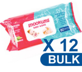 Snookums Baby Wipes Unscented Carton 12 x 80's  Unscented, alcohol free, paraben free, hypoallergenic, enriched with Aloe Vera.  Pop-up for easy dispensing, 80 sheets per pack, each sheet measures 20cm x 18cm.