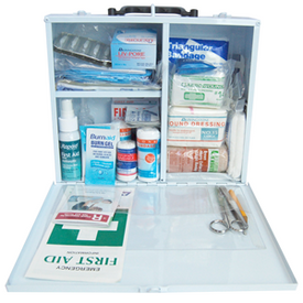 Standard Workplace First Aid Kit Medium (1-25 People) in Metal Case. Meets the prescribed regulations of NSW, S.A, N.T, A.C.T , TAS. General Description: Compliant and comprehensive Workplace First Aid Kit that contains all the necessary items to address common workplace injuries. Meets the prescribed regulations or Codes of Practice of different states (NSW, S.A, N.T, A.C.T , TAS). Ideal for 1-25 employees in a workplace.