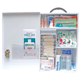 Description: First AID Kit - Class A for 100 people plus Workplace Health and Safety Registered General Description: Large workplace kit in a wall mountable metal cabinet that is recommended for high risk work areas. Includes all necessary items to cover any emergencies that may occur. Complies with OH&S Regulations 2001 for NSW & Victoria Basic First Aid Kit Requirements.