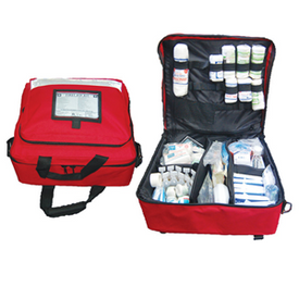 Description: Low-Med Risk First AID Kit Portable Bag General Description: High Risk first aid kits ensure you have the right first aid supplies to manage serious accidents like burns, contamination, bleeding and eye trauma. The shoulder bag design is perfect for comfort and delivery.