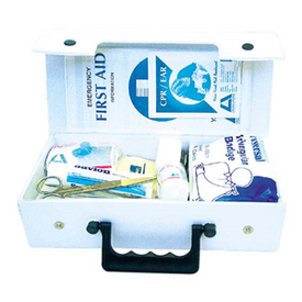 Description: First AID Kit - Auto General Description: A portable Kit for Work Vehicle and People on the Move. Compact Kit that fits behind the seat or in the boot. In PVC case. A first aid kit is a collection of supplies and equipment for use in giving first aid and can put together for the purpose or purchased complete.
