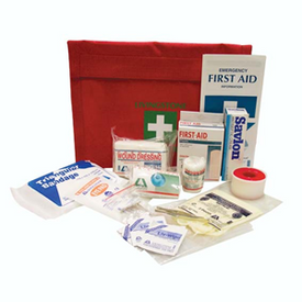 Description: First AID Kit-Auto Nylon Bag Occupational Health and Safety Registered Colour: Red General Description: Basic first aid kit catering for smaller injuries in small business establishments, (1-9 People). Nylon pouch and flexible soft pack. Complies with OH&S Regulations (NSW).