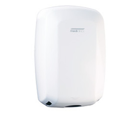 Machflow® sensor operated hand dryer  New generation high speed dryer ideal for high traffic areas. Manufactured in Europe, warranty 3 yrs labour – 7 yrs parts. Uses up to 90% less energy than warm air hand dryers. Dries hands in a super fast 8 – 12 seconds. Has no heating element. Adjustable motor speed, air flow, dry time and noise levels. GREENSPEC listed and great for NABERS and GREENSTAR. Vandal resistant design