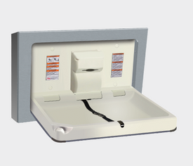 BABY CHANGE STATION, PARALLEL, CLAD STAINLESS STEEL – SURFACE MOUNTED