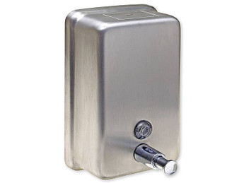 This Stainless Steel Vertical Soap Dispenser is durable and robust with a capacity of 1.2 litres.