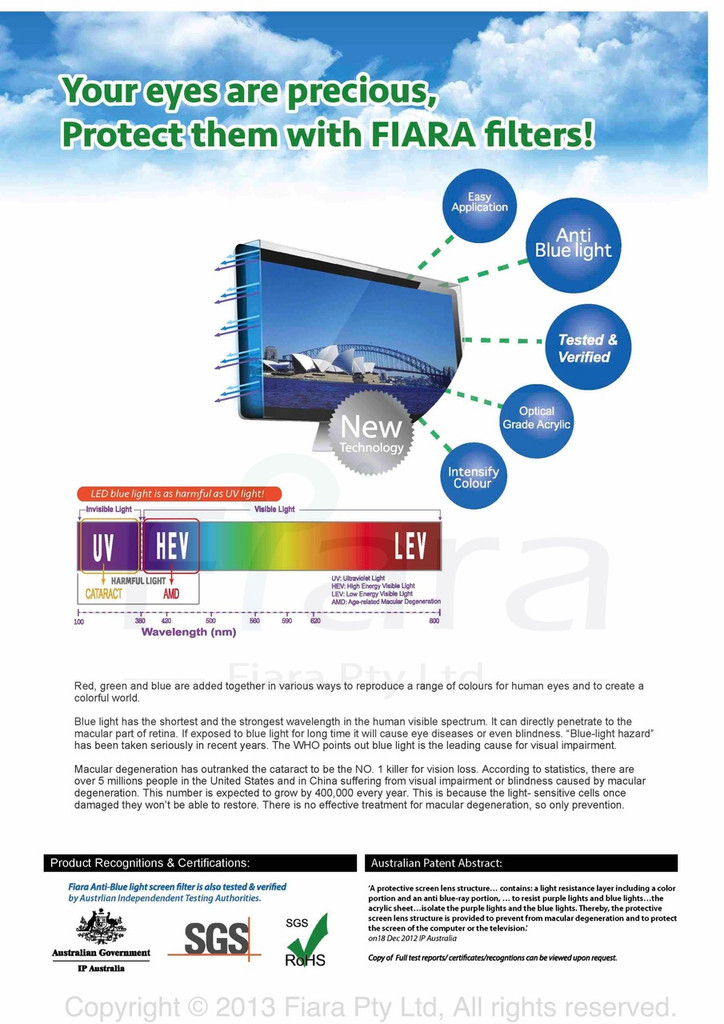 "Fiara Anti-blue Light Screen Filter/Protector | Fits 42"" inch 16:9 LCD/LED TV W950 x H555 x D45mm; UV & HEV Blue Light Protection is PROVEN/VERIFIED to protect eye vision by INNOVATION PATENT AUSTRALIA"