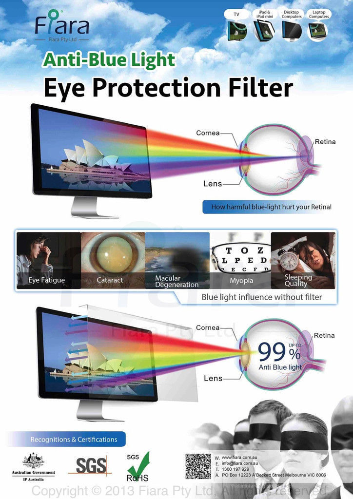 "Fiara Anti-blue Light Screen Filter/Protector | Fits 65"" inch LCD/LED TV W1500 x H885 x D65mm; UV & HEV Blue Light Protection is PROVEN/VERIFIED to protect eye vision by INNOVATION PATENT AUSTRALIA"