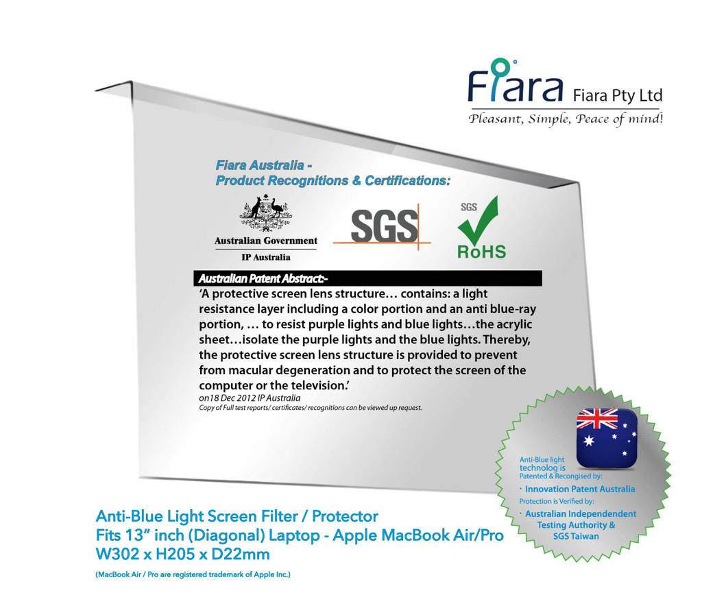 "Fits 13.3"" inch MacBook Air / PRO & associated 13"" inch Laptop / NoteBook | Fiara Anti Blue Light Screen Protector / Filter"