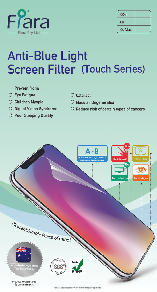 Fits Apple iPhone Xs Max / 11 Pro Max  (6.5 inch) - Fiara Anti Blue Light Screen Protector / Filter | Self-Adhesive Film