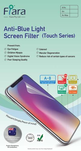 Fits Apple iPhone Xs Max / 11 Pro Max  (6.5 inch) - Fiara Anti Blue Light Screen Protector / Filter | Self-Adhesive Film