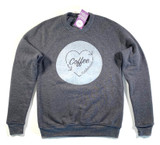 Our Coffee Love Crew Neck Sweatshirt is a wonderful transition from winter to spring! This sweatshirt provides the perfect warmth for a stroll or a cozy seat near the fireplace.  Machine wash warm, inside out, with like colors. Only non-chlorine bleach. Tumble dry low. Medium iron. Do not iron decoration. Do not dry clean.  52% Cotton 48% Polyester
