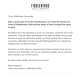 Temporary Closure Of All Fiddleheads Cafés