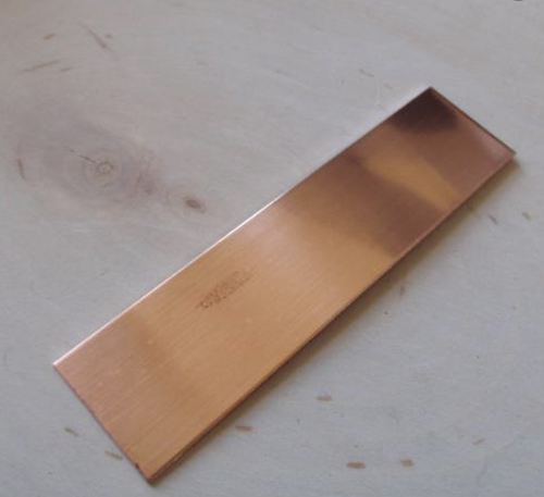 """Copper Electrode (C110), 2"""" x 6"""" by 1mm thick"""