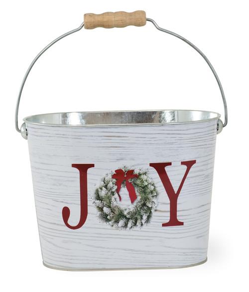 Joy Wreath Galvanized Pail