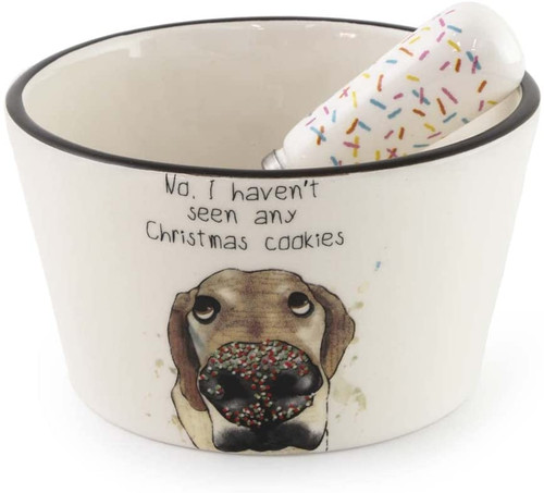 No I Haven't Seen Any Christmas Cookies Dog Dip Bowl & Spreader
