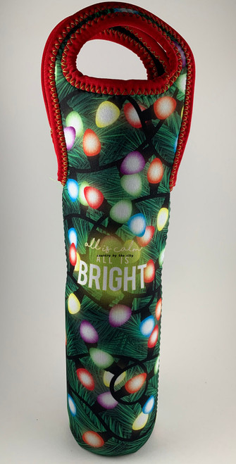 Christmas All Is Calm All is Bright Wine Bottle Tote