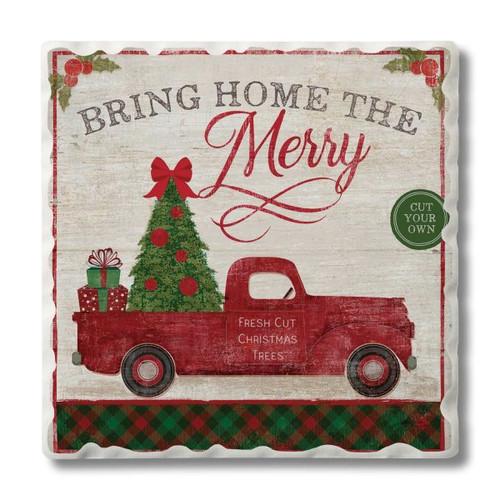 Christmas Tree Farm Tumbled Tile Stoneware Coaster Set