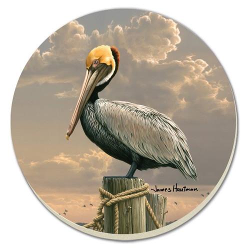 Coastal Pelican Stoneware Coaster Set
