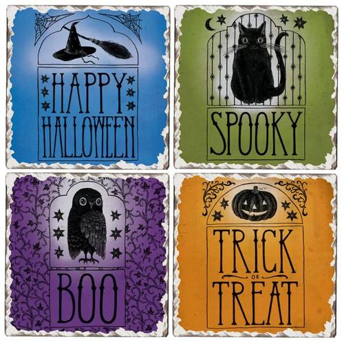 Halloween Tumbled Tile Stoneware Coaster Set