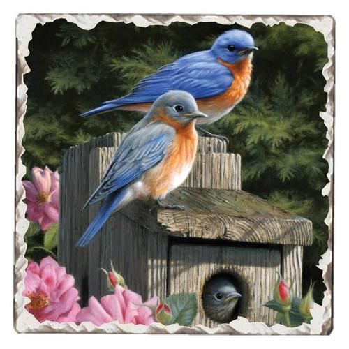 Bluebirds Tumbled Tile Stoneware Coaster Single
