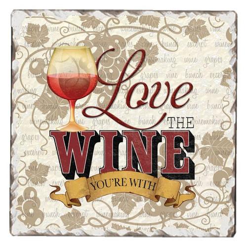 Love The Wine Tumbled Tile Coaster Single