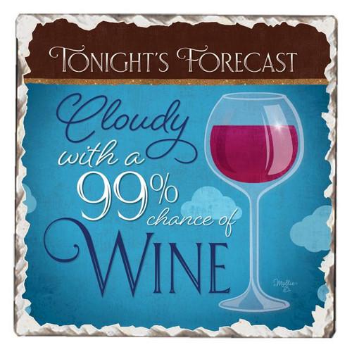 Wine Forecast Tumbled Tile Coaster Single