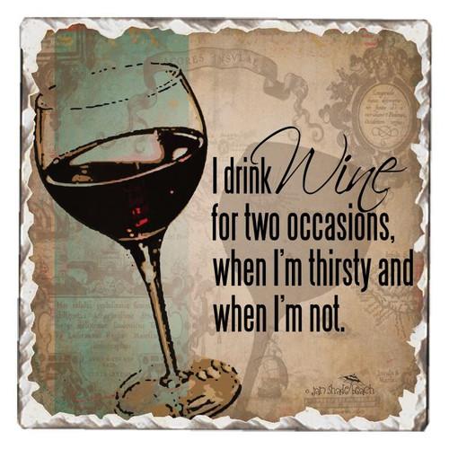 I Drink Wine Tumbled Tile Coaster Single