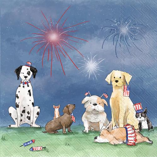 Patriotic Pups Cocktail Napkin