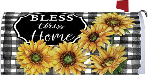 Black & White Plaid Sunflowers Mailbox Cover