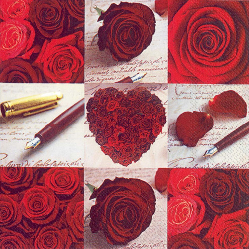 Valentine Roses of Love Luncheon Napkins
