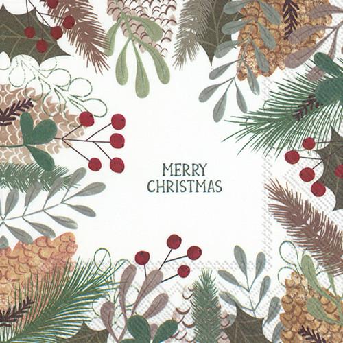 Pine Tree & Berries Christmas Cocktail Napkin