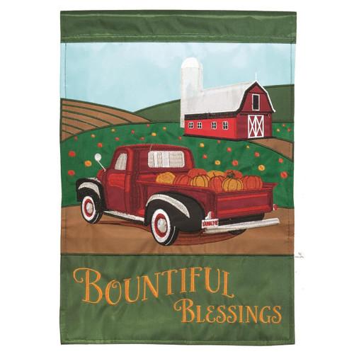 Autumn Bountiful Blessings Red Truck Garden Flag